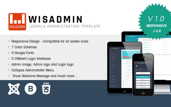 Wisadmin Joomla Administrator Free Template