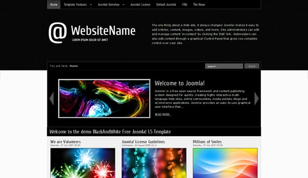 BlackAndWhite Free Joomla! 1.5 Template - darmowy szablon Joomla