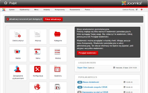Vallis szablon administratora Joomla 3 w stylu Joomla 2.5