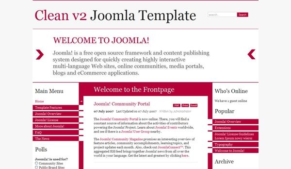 Clean and Light v2 Free Template - darmowy szablon Joomla