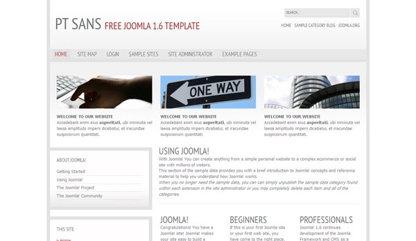 Templatka PT Sans dla Joomla! 1.7, Joomla! 2.5
