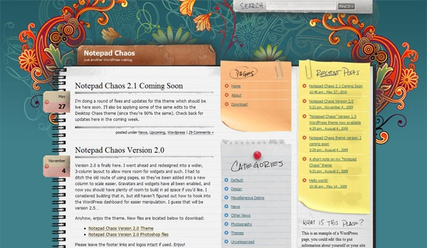 JNotepad Chaos - blogowy szablon Joomla